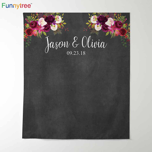 Image 1 - Funnytree photography theme background vintage wedding flowers watercolor blackboard party backdrop photocall new photo prop