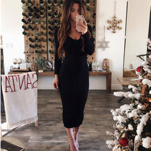 LOSSKY Autumn Winter Knitted Bodycon Maxi Dress Sexy Long Sleeve V Neck Women Elegant Slim Women Fashion Warm Long Dresses 2018