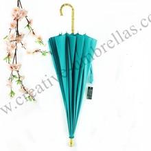 16 ribs straight pure nature rattan bamboo handmade wooden umbrellas hand open anti-thunder fiberglass outdoor ladies parasol