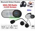 Atualização Motorcycle Helmet Intercom Interfone Headset Bluetooth Com Tela LCD + Rádio FM