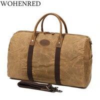Men's Travel Bags Luggage Duffel Bag Waterproof Canvas Overnight Bag Leather Weekend Oversized Carry on Shoulder Handbag Brown