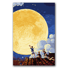 DIY oil Paintings by numbers cartoon figure abstract night moon pictures coloring paints with kits for kids frameless