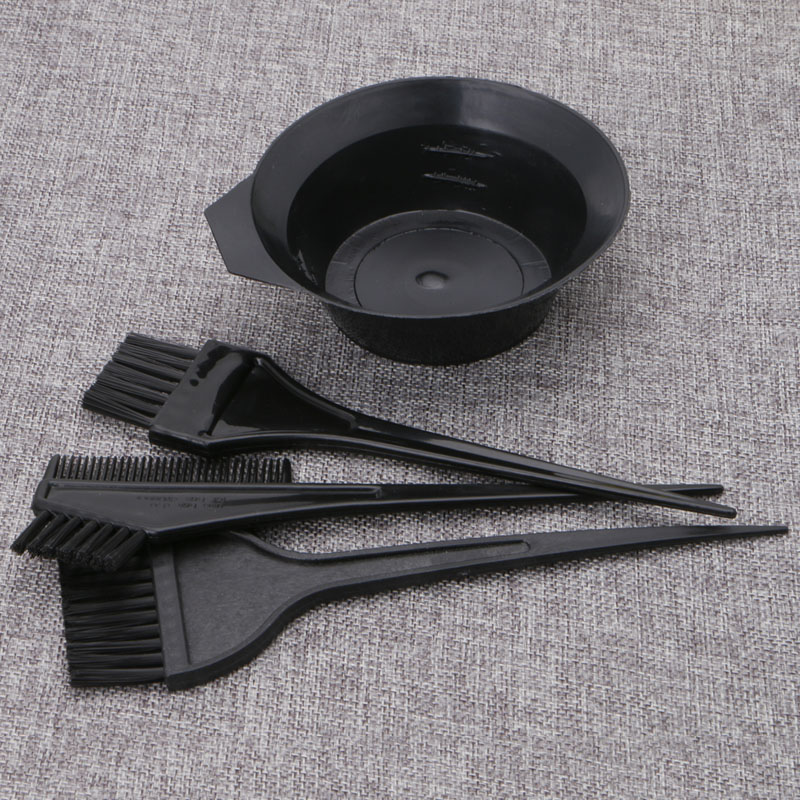 4Pcs /Set Hair Dye Colouring Brush Comb Black Plastic Mixing Bowl Barber Salon Tint Hairdressing Color Styling Tools Dropship