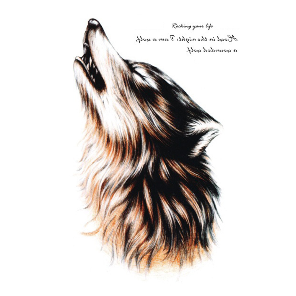 Individuality Waterproof Temporary Tattoos For Men And Women Wolf Roar Design Large Arm Tattoo Sticker