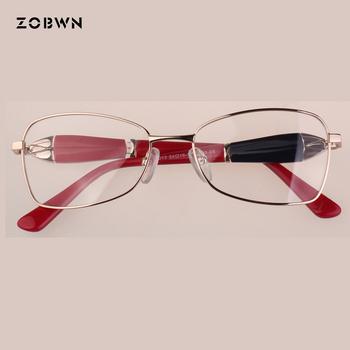 Damskie okulary kobiety okulary dziewczyna ramki Lunettes óculos de grau feminino dekoracji stóp może być obracany o podwójne kolory tempels tanie i dobre opinie ZOBWN Stainless Steel WOMEN Okulary akcesoria Stałe ZB-CS4013 FRAMES