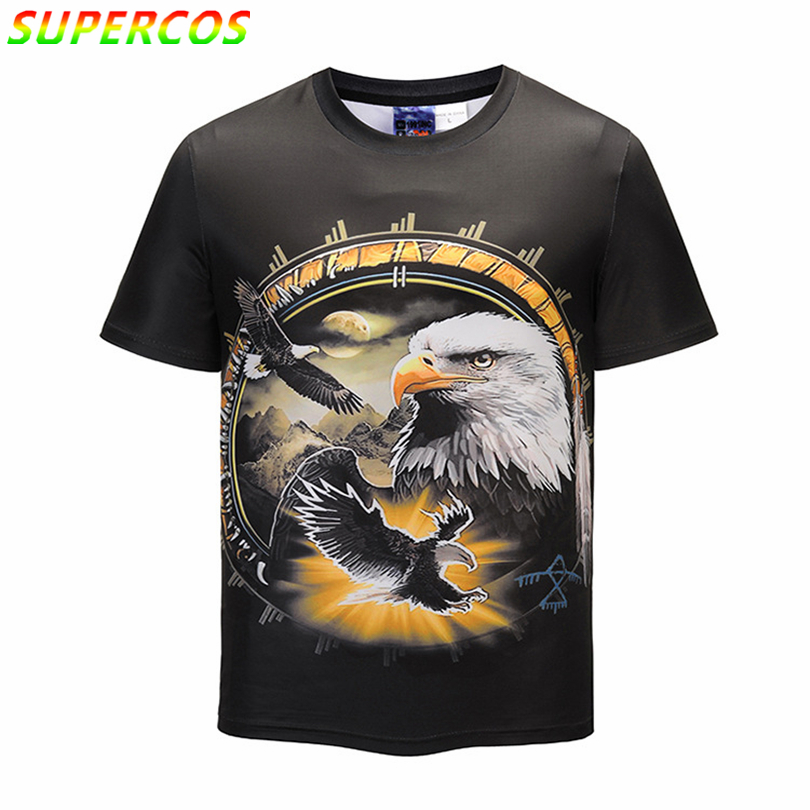 Free Shipping! Newest Good Quality Summer Cool Comfortable Short Sleeve T-shirt With Sky Sunshine Eagle King Artistic 3D Print