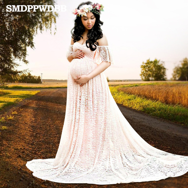 f66a5f832e802 SMDPPWDBB Maternity Photography Props Maternity Dresses Plus Size Sexy Lace  Fancy Pregnancy Dresses Photography White Gown