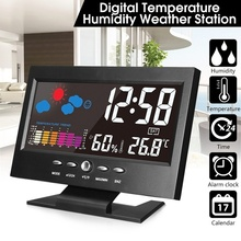 цена на Led Light Digital Alarm Clock Indoor Weather Station Alarm Clock Time/Date/Week/Alarm/Temp/Humidity/Weather/Snooze Display