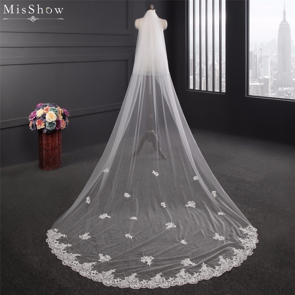 In Stock Cheap White Ivory 3 Meters Two Layers Long Wedding Veil With Comb Lace Edge Appliques Bridal Veil Wedding Accessories