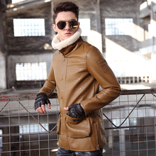 M-4XL!!Male leather clothing  2017 fur one piece fur collar motorcycle leather clothing men's clothing medium-long plus velvet