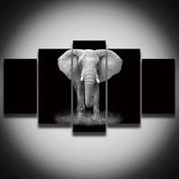 HDพิมพ์แอฟริกันช้างภาพวาดภาพผ้าใบศิลปะกรอบ5แผงสัตว์ภูมิทัศน์ตกแต่งผนังสำหรับห้องพักบ้าน...