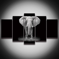 HD Printed African Elephant Picture Painting Canvas Art Frame 5 Panels Animal Landscape Wall Decor For