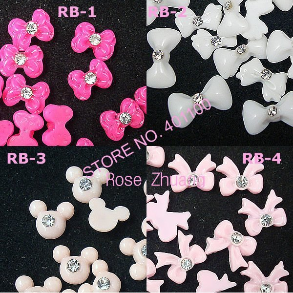 Freeshipping-Resin Bow with Rhinestone Nail Art Decoration Colors Bowknot 100pcs/bag wholesales