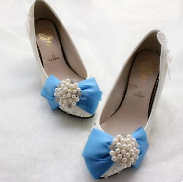 ФОТО Bow blue white patchwork shoes for woman 2017 new TG037, party wedding dress pumps shoes middle low high heels dance shoe