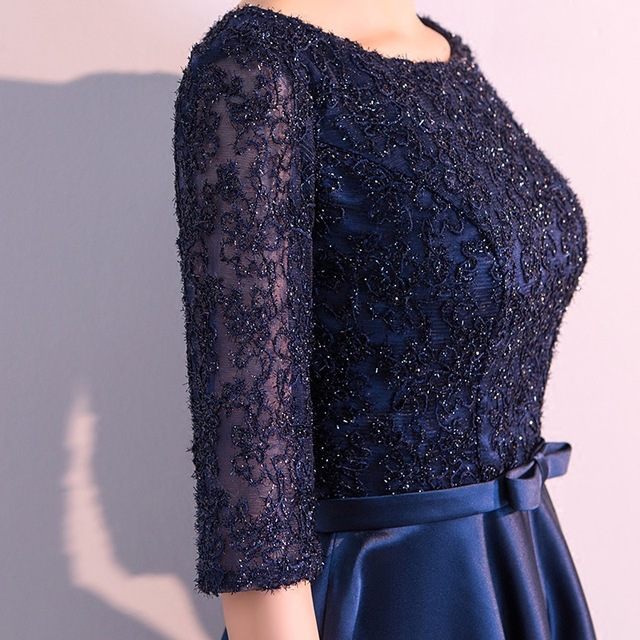 DongCMY New 2019 Long Formal Evening Dresses Elegant Lace Satin Navy Blue Vestidos Women Party Gown 6
