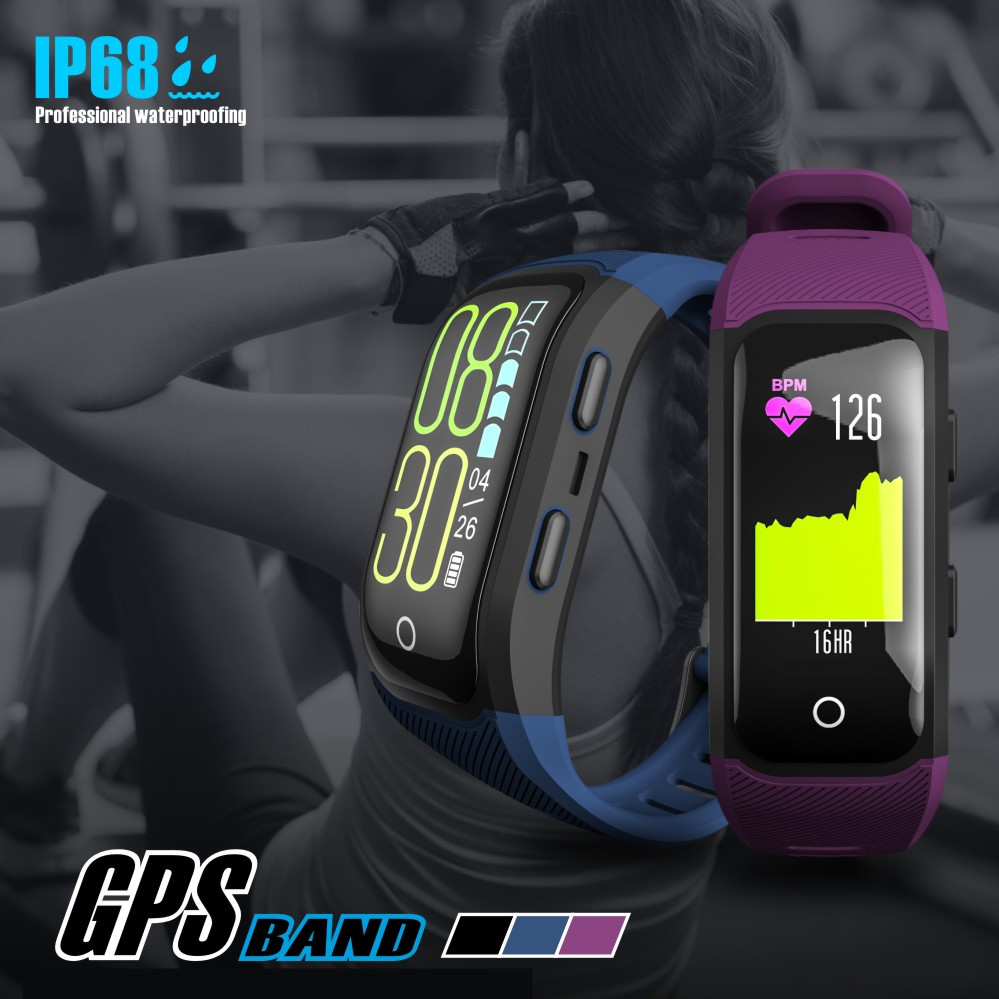 Écran couleur étanche Bracelet intelligent traqueur d'activité Sport GPS montre intelligente Bracelet moniteur de fréquence cardiaque Bracelet de Fitness