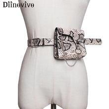 DIINOVIVO Mini Chain Designer Fanny Pack For Women Waist Bag Snake Skin Small Belt Bags Ladies Waist bag Money Coin Bag WHDV1131