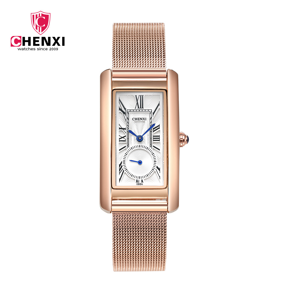 CHENXI Popular Rose Women Casual Watches Unique Rectangle Roman Numeral Blue Pointer Stop Watch Waterproof Elegant Lady's Clock