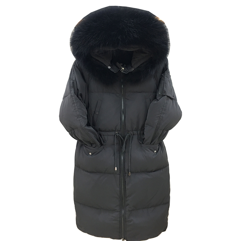 Women Raccoon Fur Collar Parkas 2018 Warm Hooded White Duck Down Jacket Winter Casual Female Plus Size Long Coat High Quality
