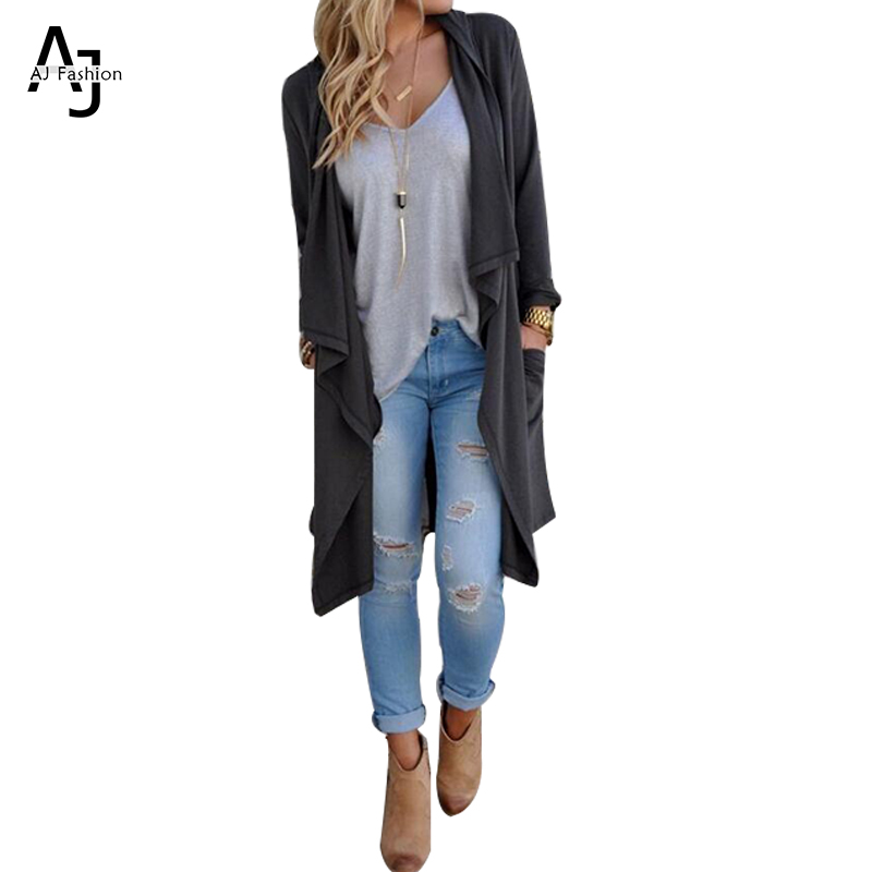 AJ Long Grey Cardigan Women Autumn Casual Office Long Sleeve Vintage Soild Outwear Coat Ladies After The Split Cardigans cw45