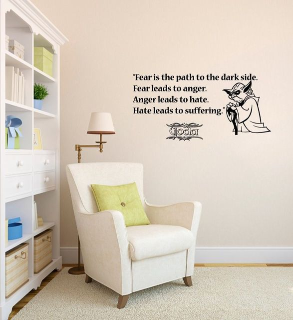 Wall Decals Quote Fear Path Dark Side Star Wars Vinyl Sticker Nursery Decor Room