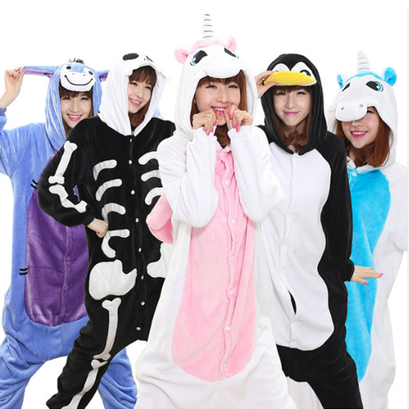 2018 Winter unicorn Pajama sets Women pijama unicornio animal Panda Stitch for adults Animal Pajamas Cartoon pyjama Sleepwear ...
