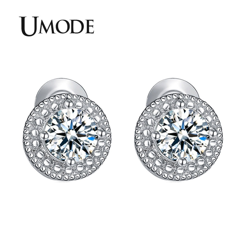 UMODE White Gold Color Micro Round CZ Crystal Stud Earrings for Women Jewelry Fashion Boucle D 39 oreille Femme Accessories UE0259 in Stud Earrings from Jewelry amp Accessories