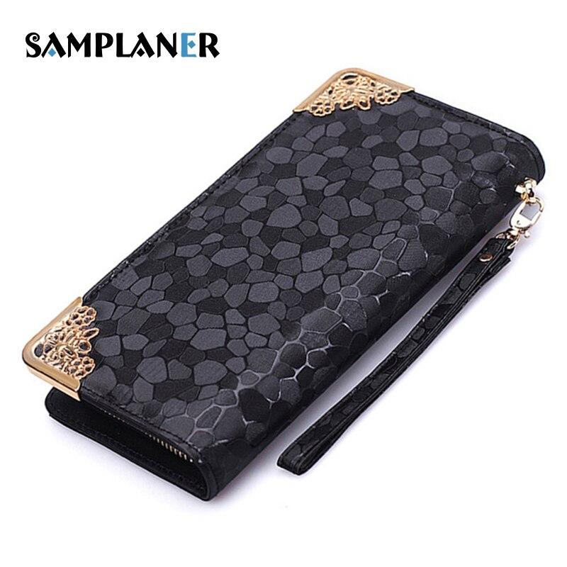Samplaner Silver Long Clutch Wallets for Women Zipper Leather Wallet Stone Pattern Card Purse Elegant Lady Evening Wallets Strap