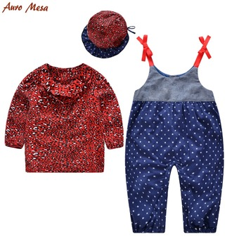 Fashion Autumn Baby Girl Clothes Red Leopard Shirt+Overall+Hat 100% Cotton Newborn Clothing Outfit