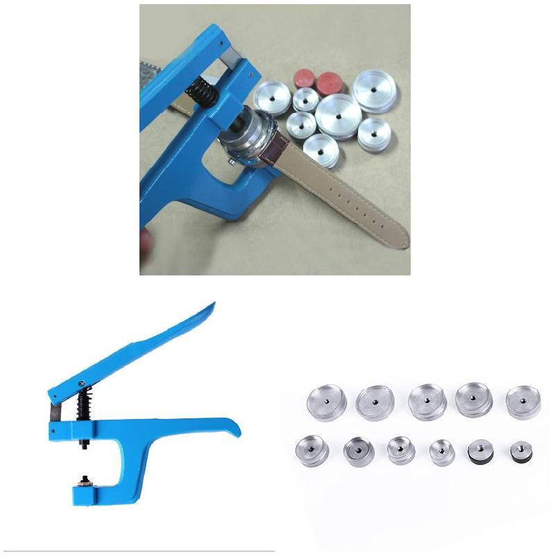 Luxfacigoo Watch Back Closer Watchmaker Press Set Repair Tool with 9pcs Alloy Press Stud TT@88 все цены