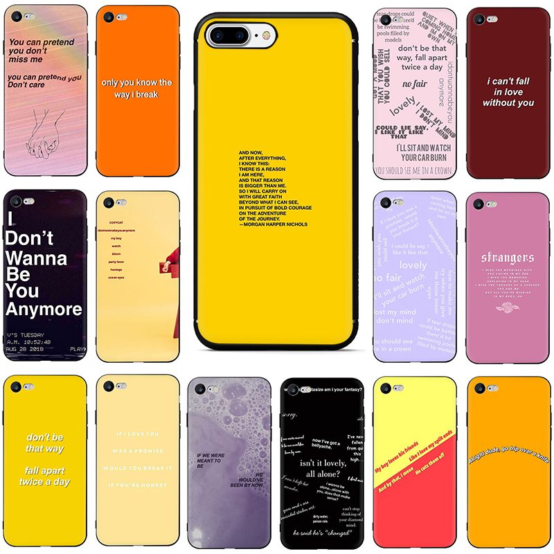For Iphone 6 6s 7 8 Plus X XR XS Max Song Lyrics Billie Eilish Aesthetic Soft TPU Soft