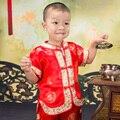 Verão Lindo Bordado Crianças Chinês Antigo Traje Do Bebê Menino Menina de Ano Novo/Aniversário Alegre Realizando Roupas Conjunto Vermelho