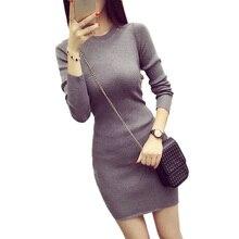 2017 на осень-зиму мода женщины трикотажное платье Элегантный Bodycon Платья повседневные с длинными рукавами сексуальные мини-платье-свитер Vestidos