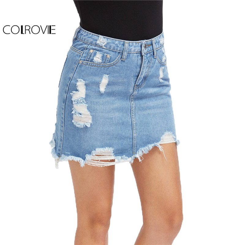 COLROVIE Casual High Waist Denim Skirt Blue Light Wash Women Distressed Mini Pencil Skirt 2017 ...