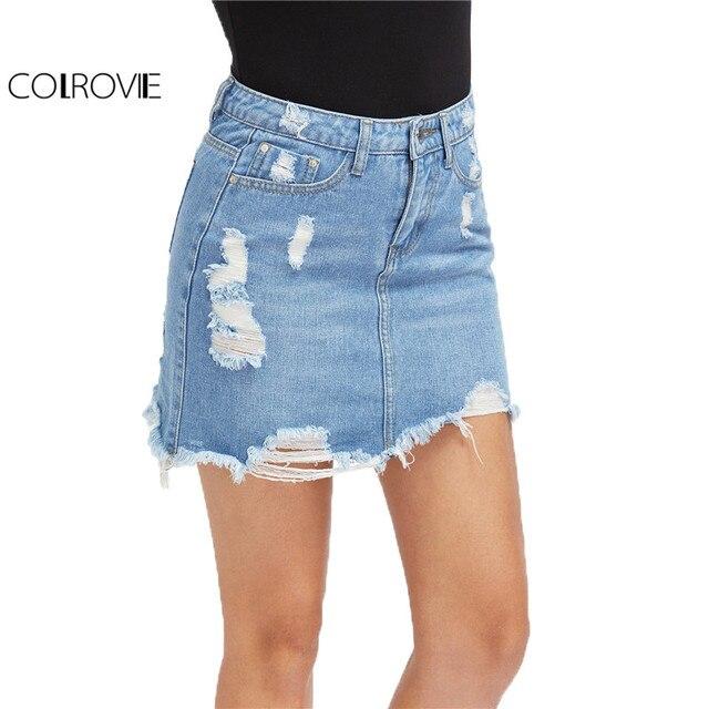COLROVIE Повседневное Высокая Талия Джинсовая юбка синий свет мыть Для женщин Проблемные мини юбка-карандаш 2017 пикантные рваные 5 карман летняя юбка