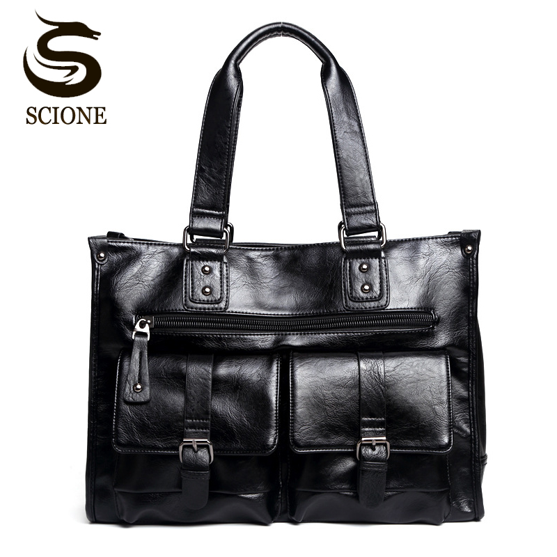 High Quality Men Leather Bag Fashion Business Briefcase Handbags Casual Large Capacity Travel Bags Men's Messenger Bags PU Tote