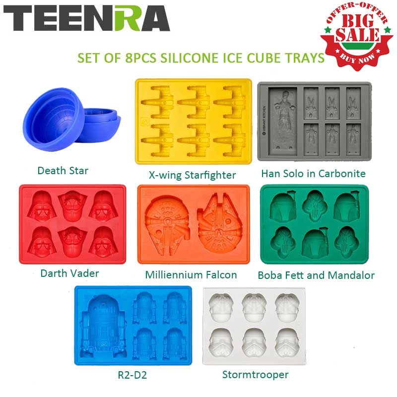 8Pcs Star Wars Cube Ice Trays Trays Silicone Ice Death Death Star Ice Ice Ice Form Silicone Ice Forma Candy Silicone Moulds Darth Vader X-Wing