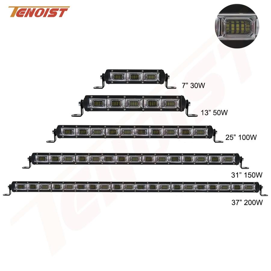 цена на New 21/25/37 Inch 30W 50W 100W 150W 200W LED Light Bar For Car SUV Truck BUS Offroad ATV UTV 12V 24V