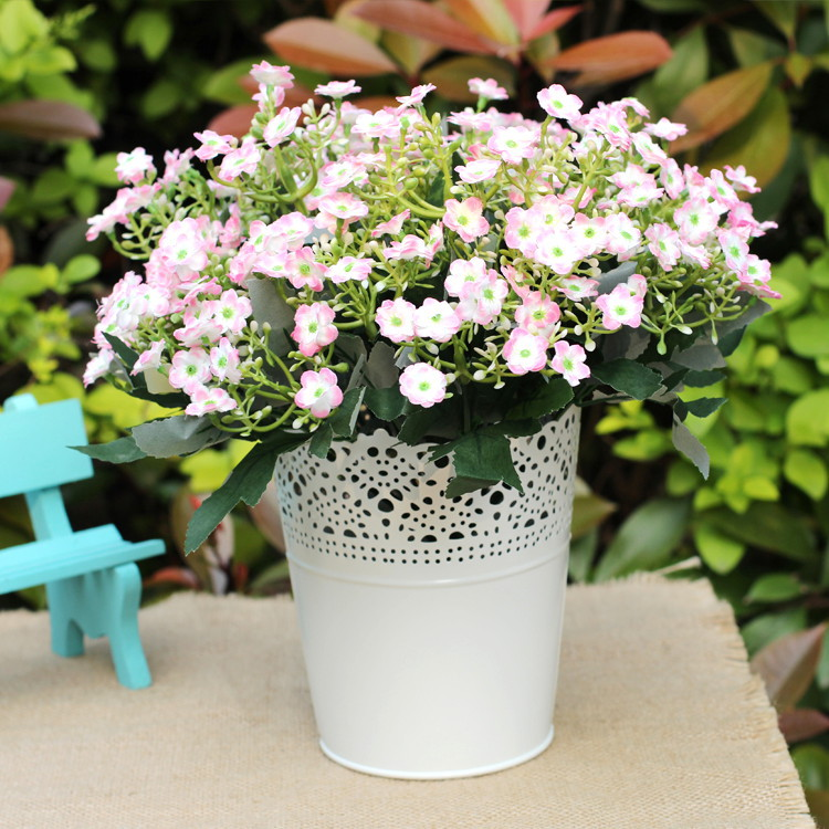 Home Decoration Rustic Past Hollow Metal Flower Pots Barrel Pot Wedding Basket