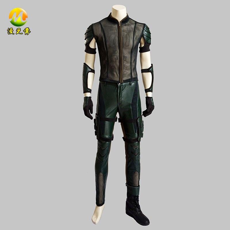 Green Arrow Season 4 Oliver Queen Cosplay Costume Upgraded Version Leather Hoodie Jacket Men Costumes for Halloween