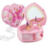 Caixa de Jóias de Música ligeira Brinquedo Vento Até Brinquedos Em Forma de Coração Rosa caixa com Clockwork Primavera Toy para o Bebê Kid Presente de Aniversário Amigo