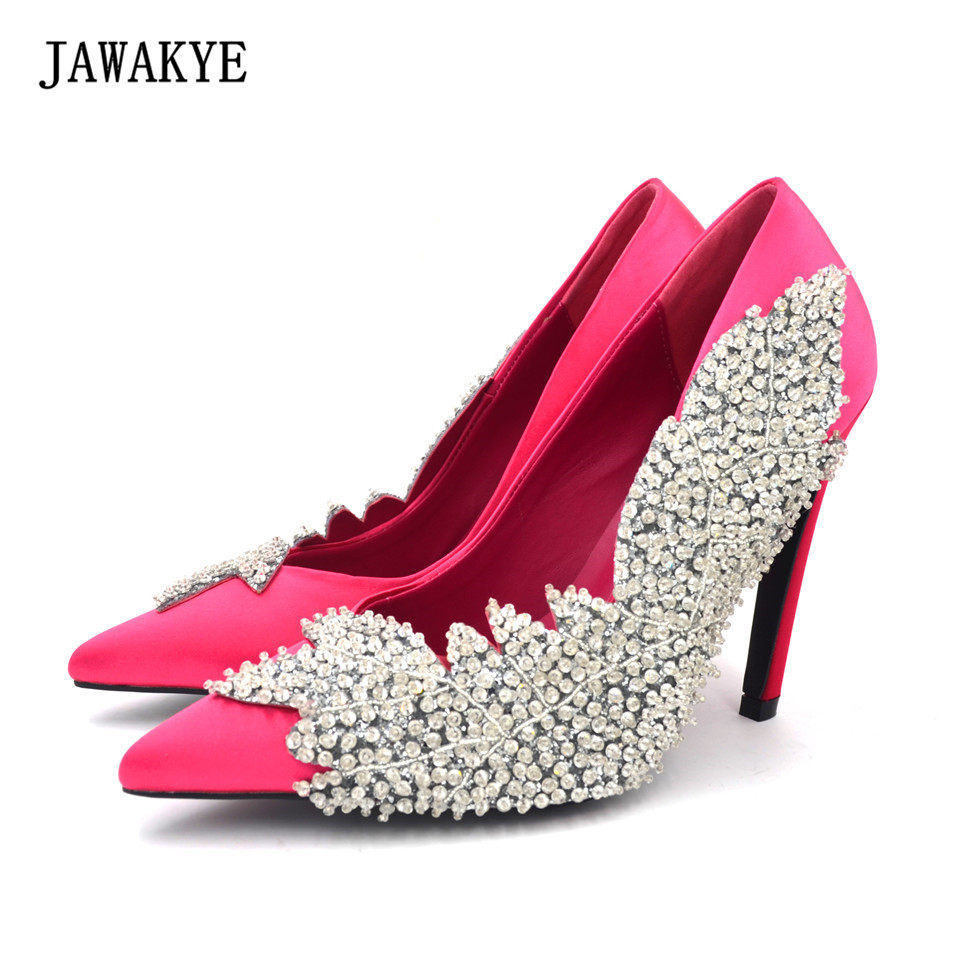 New Spring Shinny Crystal Leaves Women Pumps Wedding shoes Rose red green  Silver Rhinestone beading High 99511d0fb9c3