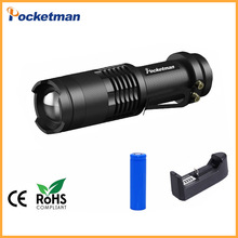 CREE Q5 Mini Black 2000LM Waterproof LED Flashlight 3 Modes Zoomable LED Torch penlight zaklamp Free Shipping