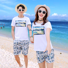Family summer beach parent-child cotton family suit Mom daughter dad son camel print t-shirt and shorts set for family travel family matching clothes 2018 new letter print t shirt lace shorts set 2pcs dad son sport suit family clothing korean casual sets