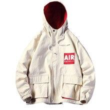 2019 Hip Loose Mens Jackets Plus Size Fashion Pullover Casual Jacket Men Long Sleeve Front Pocket Windbreaker Coat ABZ514