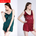 HOT 2016 fashion new summer women high quality sexy silk satin court candy colored shorts and suspenders comfortable Pyjamas 3XL