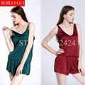 HOT 2016 moda nuevas mujeres de alta calidad sexy de satén de seda de corte pantalones cortos de color caramelo y tirantes cómodos Pijamas 3XL