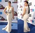 Sexy Kim Kardashian Mermaid Celebrity Dresses V Neck Satin Cap Sleeves Long with Gold Belt Prom Evening Gowns BG50537