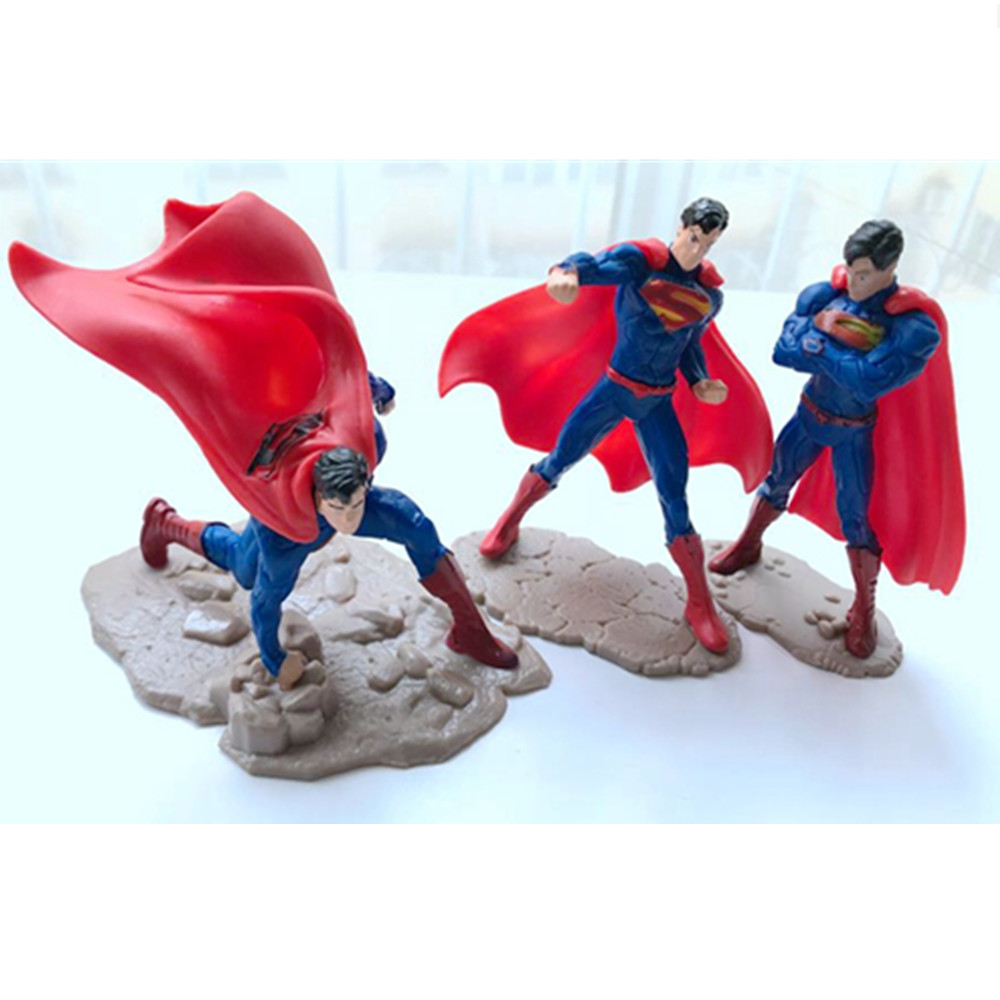 Image 2 - 1 pcs Cartoon Super Hero Superman Batman Action Figures PVC Model Three Kinds Of Style Kid Gift Toy-in Action & Toy Figures from Toys & Hobbies