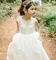 2016 New Lace Flower Girl Dresses High Neck V-Back Party Pageant Communion Dress for Wedding Little Girls Kids/Children Dress
